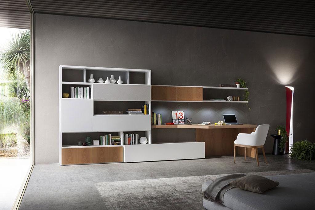 Parete attrezzata con scrivania integrata napol sala for Scrivania soggiorno