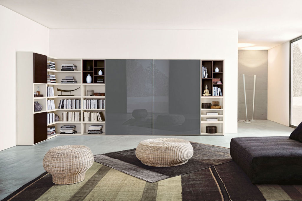Parete attrezzata ad angolo con libreria napol sala for Mobili da sala ad angolo