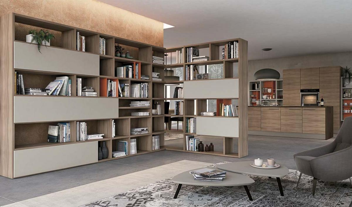 Soggiorno vitality colombini con libreria sala for Soggiorni offerte mobili